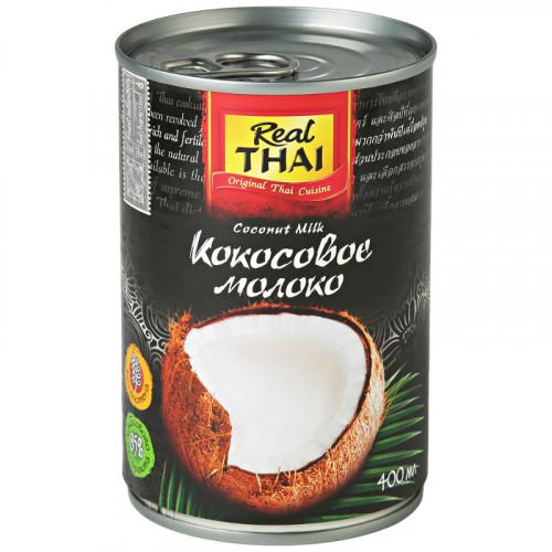 Кокосовое молоко Риал Тай (Real Thai) 85% кокоса, жирность 17-19% | 400 мл | Тайланд