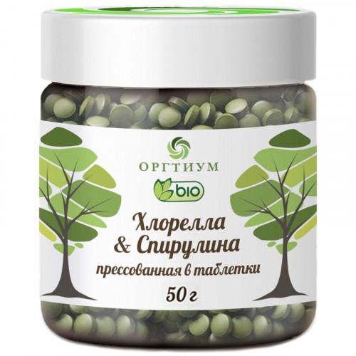 Хлорелла и Спирулина прессованные в таблетки Оргтиум 50 г | Южная Корея