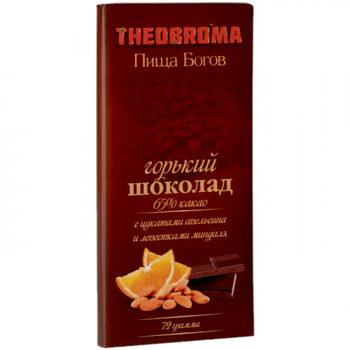 Горький шоколад Пища Богов 65% с миндалем и цукатами апельсина 72 г