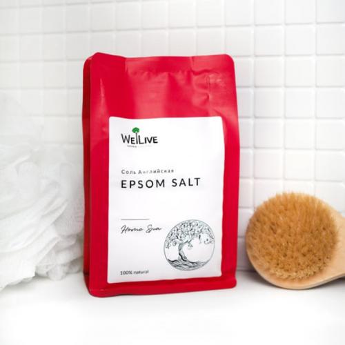 Английская магниевая соль для ванн Epsom Salt WeLive 500 г | Чистота 99.96%
